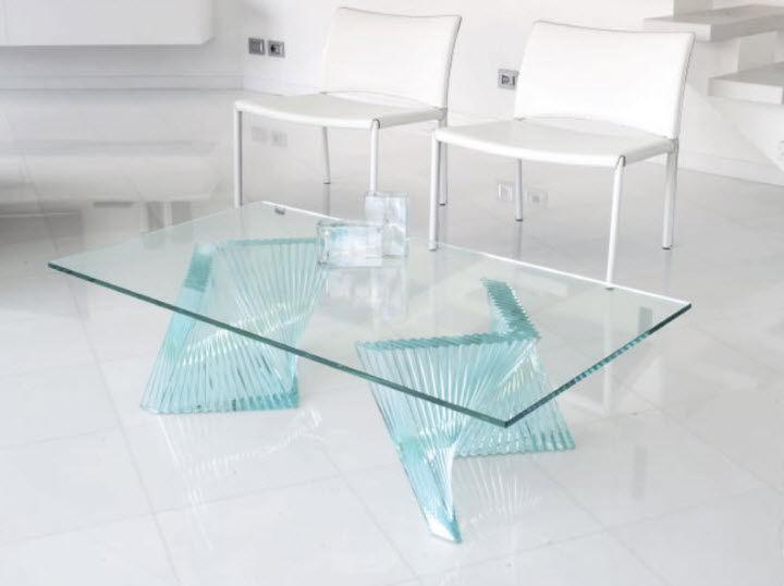 Table Basse Contemporaine Fly Tvl029 Unico Italia En Verre Rectangulaire Transparente