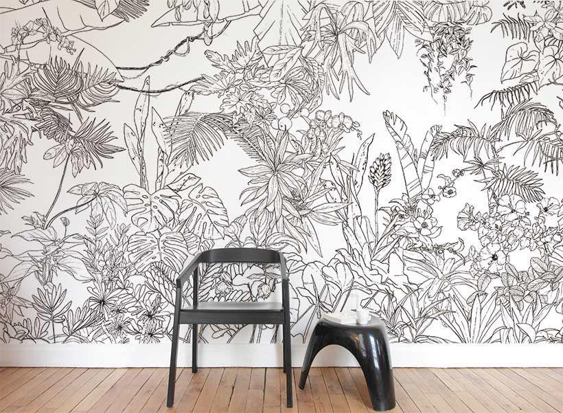 papier peint jungle tropical noir et