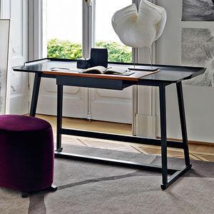 bureau en bois en cuir contemporain avec rangement integre