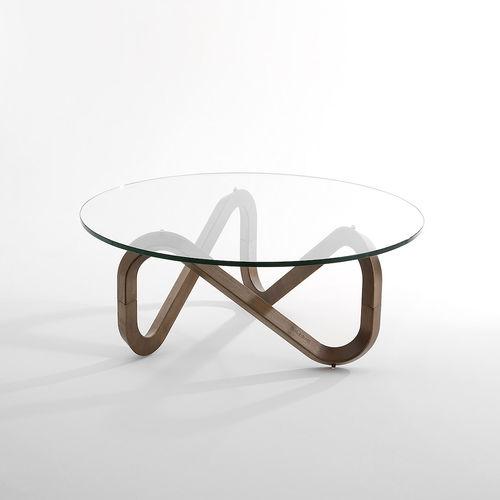 table basse contemporaine libra kubikoff en bois en verre ronde