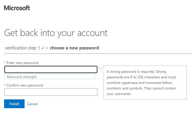 Wybór nowego hasła do konta AzureAD