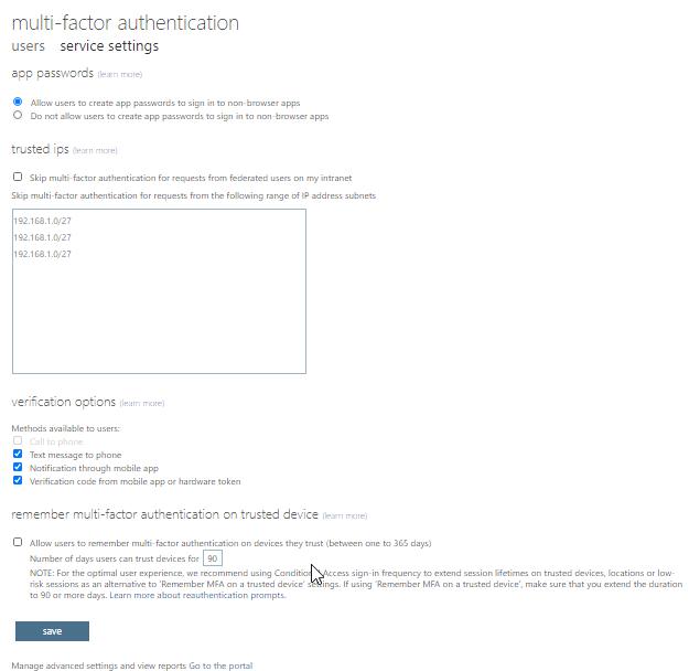 Ustawienia usługi Microsoft Azure Multi-factor Authentication