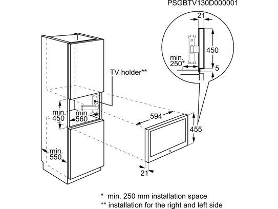 AEG TV4500ZM Compact, LCD televisie + dvd, 45cm, inox