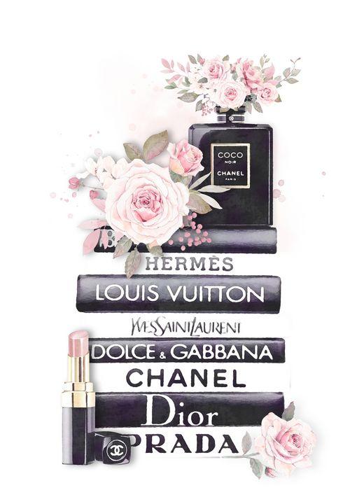 chanel wall art fashion book stack