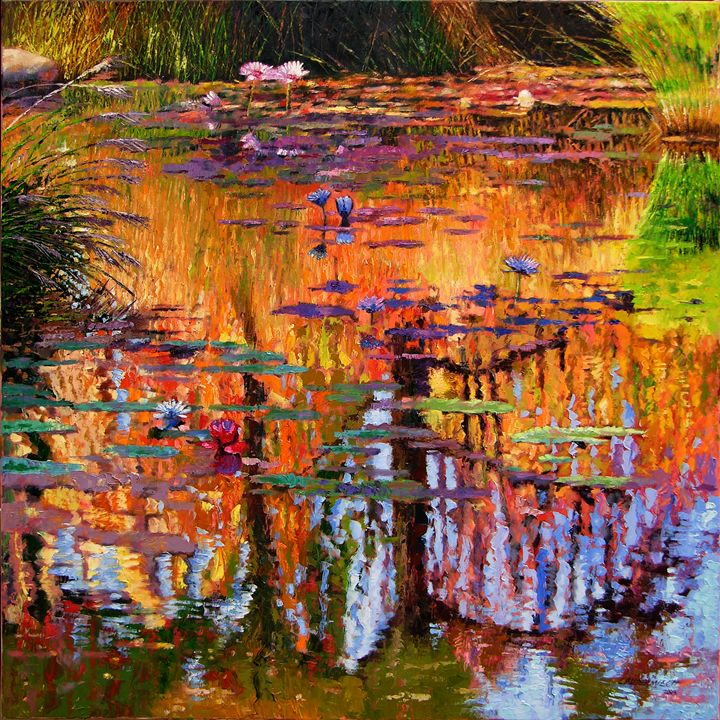 Simple Wallpapers Colors Fall Ripples On Fall Pond Paintings By John Lautermilch