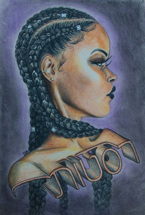 How To Draw Cornrows : cornrows, Cornrows, Destiny's, Drawings, Illustration,, People, Figures,, Portraits,, Female, ArtPal