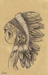 Little Indian sketch Corinne Melanie Drawings & Illustration Ethnic Cultural & Tribal Native American ArtPal