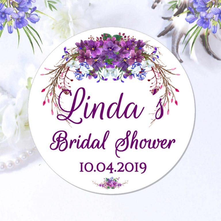 purple wedding floral stickers