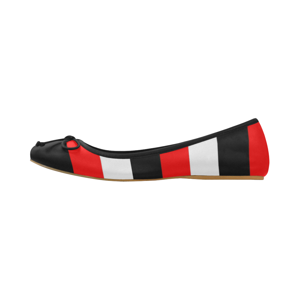 Red, white and black stripes ballet pumps