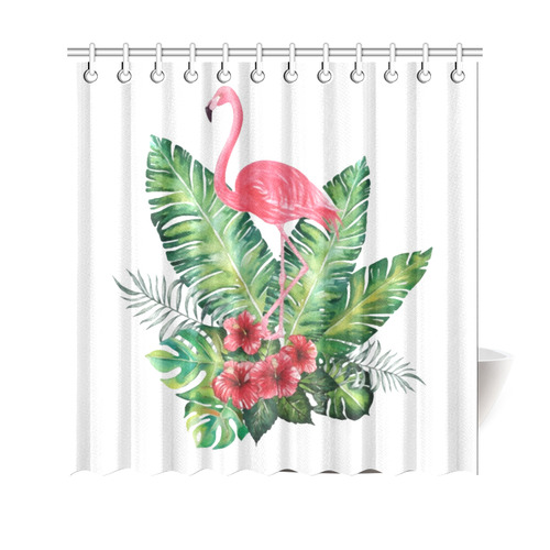 pink flamingo tropical floral hibiscus shower curtain 69 x70 id d1559596