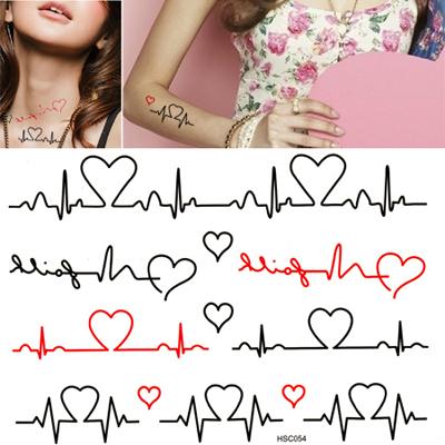 Skate Black Heartbeat Pattern Design Paper Tattoos Body