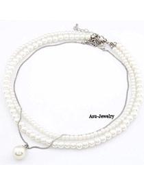 Birthing White Multlayer Imitate Pearl:Asujewelry.com