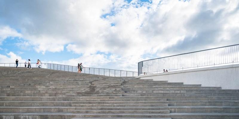 |台南景點|七股遊客中心,IG打卡新景點,絕美水上步道、天空階梯、鹽山地景意象建築物超好拍