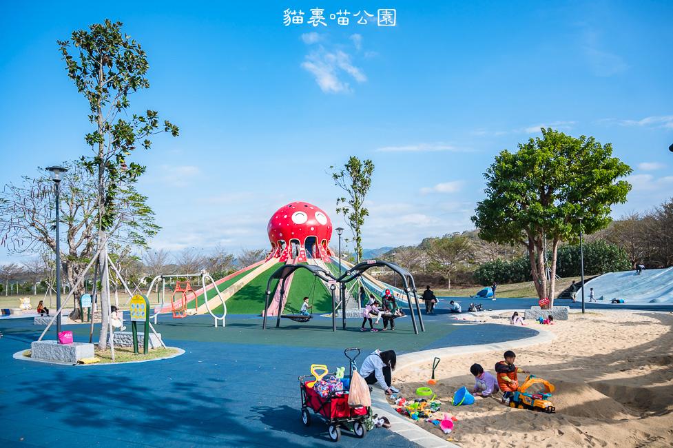 |特色公園|貓裏喵親子公園,八爪章魚造型溜滑梯、大草地、沙坑、動物蹺蹺板,把孩子的電放光吧