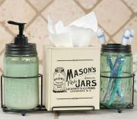 Country Primitive Mason Jar Caddy Bathroom Set-Soap ...