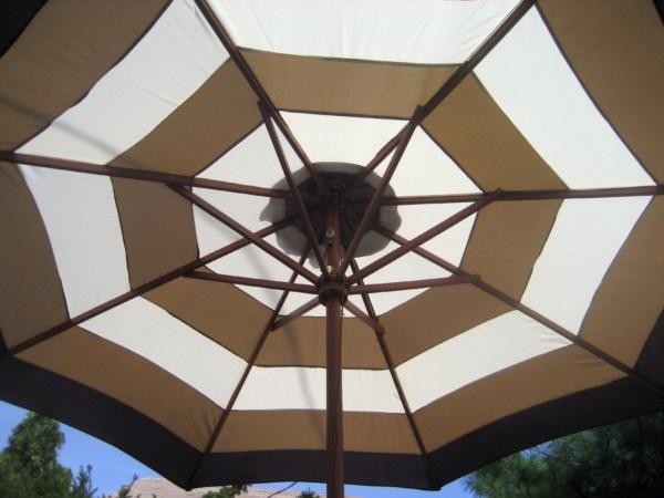 9 Ft.market Patio Umbrella Brown And Beige Stripe