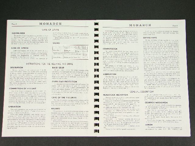 Monarch Lathe Operator Manual Mod. EE No. 32106