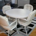 Kitchen dining table chairs swivel wheels set contemporary used