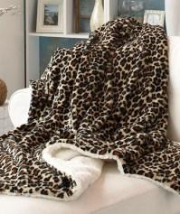 Cozy Soft Plush Reversible Animal Print Sherpa Throw ...