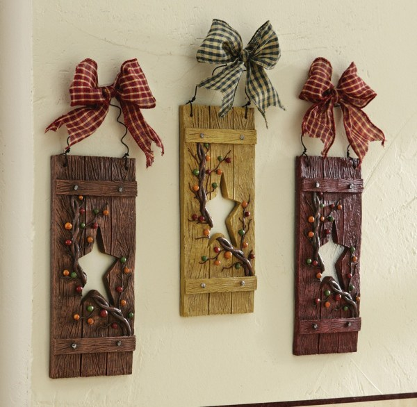 3 Pc Primitive Country Folk Art Star Shutters With Bows