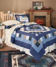 3-Pc Blue Rustic Country Lodge Pinecone Pine Cone Bed ...