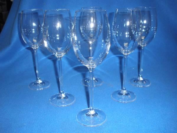 Stunning Set Of 6 Crystal Long Stemmed Wine Champagne Glasses