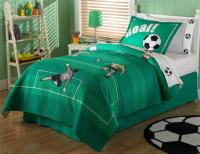 SOCCER GAME SPORTS GREEN COTTON TEEN BOY BEDDING SET TWIN