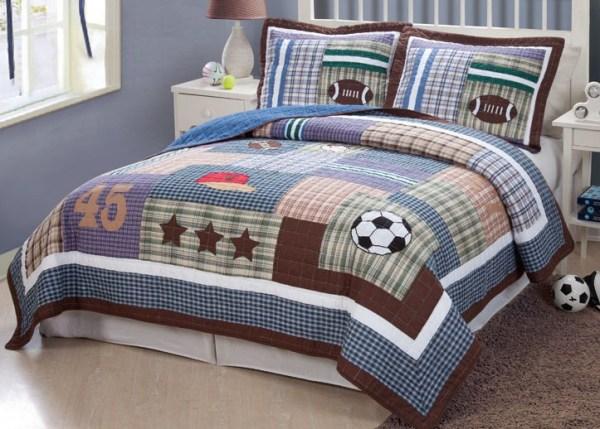 Sports Football Field Soccer Boys Blue Twin Full Queen Quilt Bedding Set