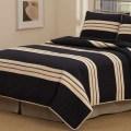 Modern stripes black tan twin full queen king quilt bedding set teen