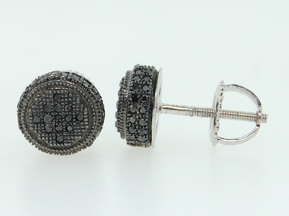 Men's 10K White Gold Pave Set Black Diamond 3D Circle Stud