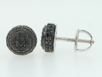 Men's 10K White Gold Pave Set Black Diamond 3D Circle Stud