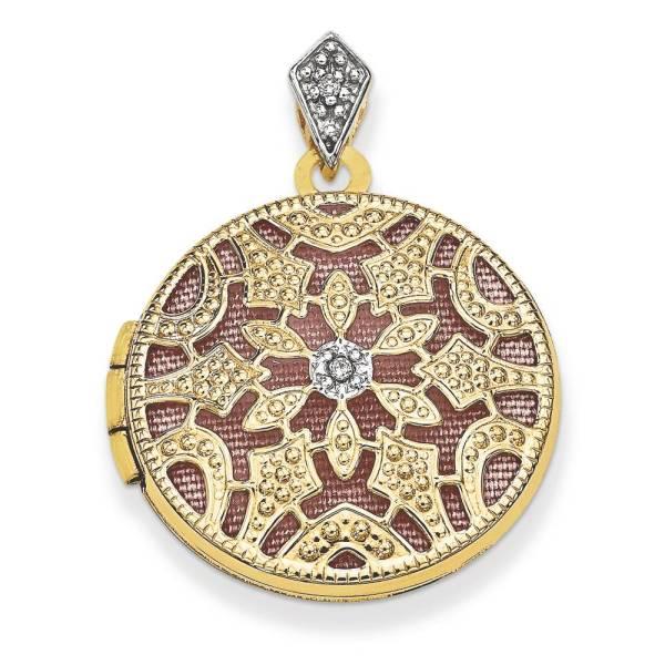 Diamond Vintage Locket Pendant 14k Yellow Gold 0.01 Ct Charm