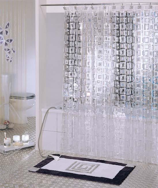 White Transparent Mosaic PVC Bathroom Shower Curtain Y2601