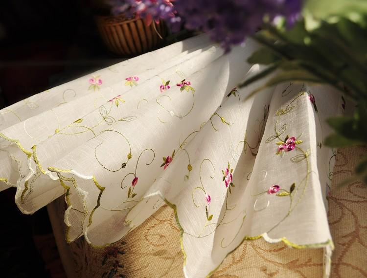 Embroidered Cafe Kitchen Curtain Tier Valance Cottage Country Shabby Chic Floral EBay