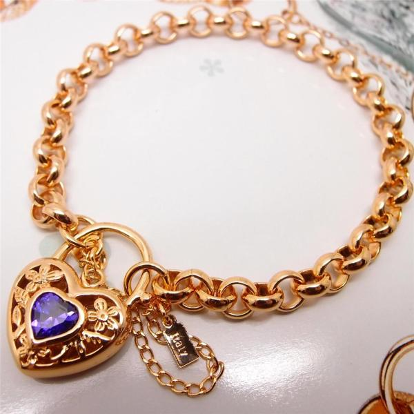 Chic Italy 14k Yellow Gold Filled Amethyst Blue Pink Ruby Crystal Heart Bracelet