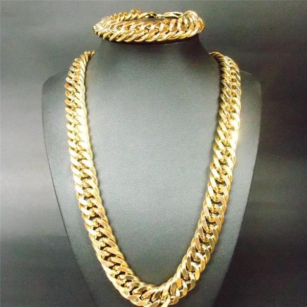 18k Gold Filled Bracelet Necklace Set 13mm Curb Chain Huge