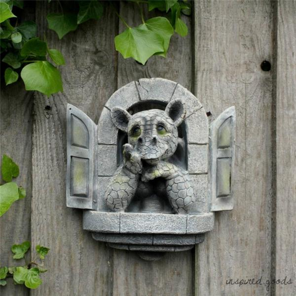 Cute Stone Effect Window Dragon Wall Fence Garden Ornament Sculpture Statue Art