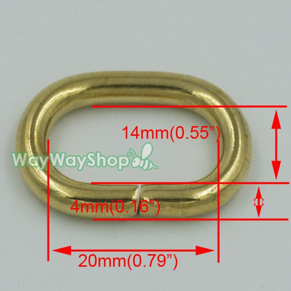 Solid Brass Loop Oval Ring Rings Leather 4 Purse Bag