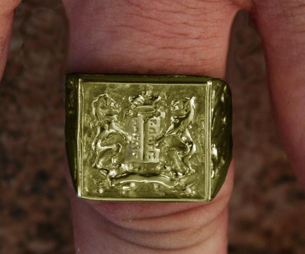 Beautiful 14k Gold Ten Commandments Lions Judaica Men'