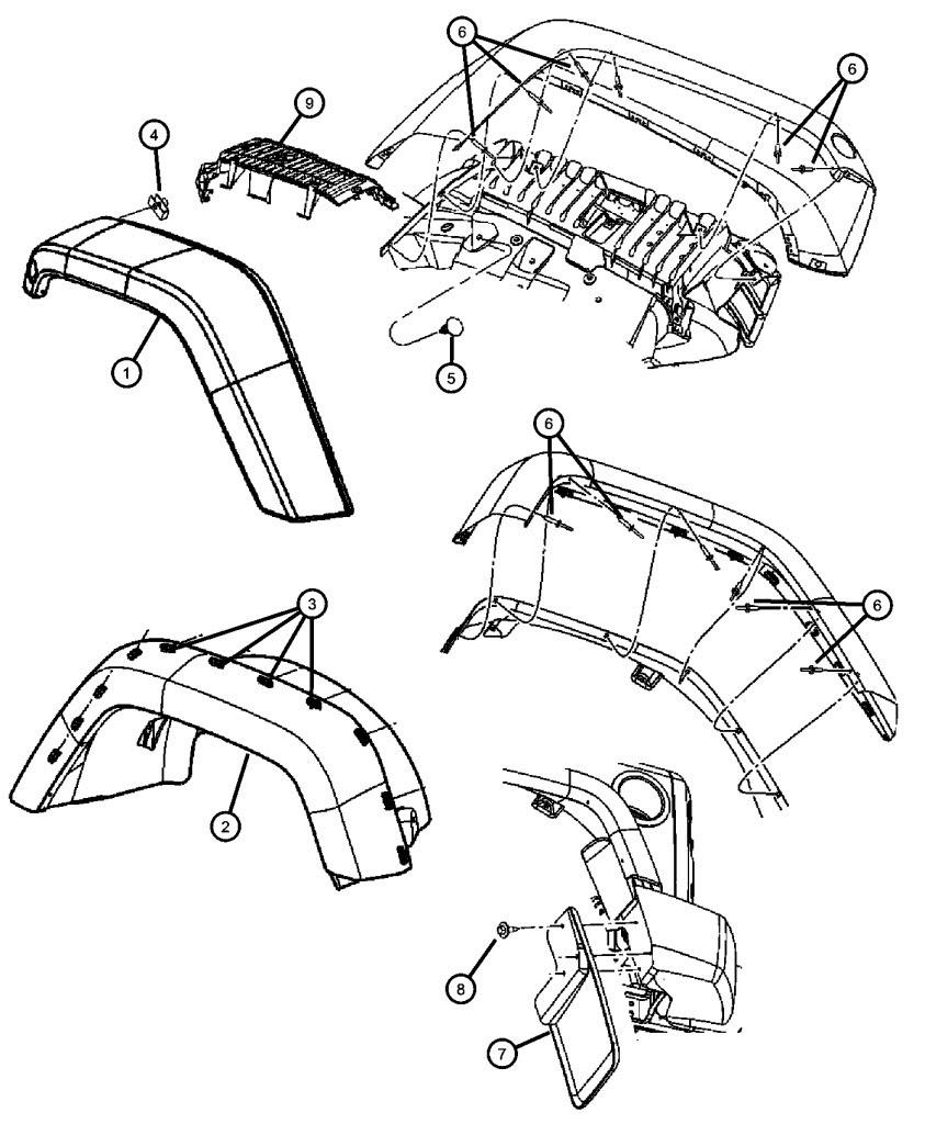 NEW JEEP JK Fender clips Qty 5 plastic moulding USA