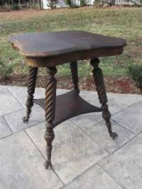 Antique Claw Foot Glass Ball End Side Game Parlor Table