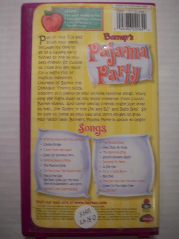 Barneys Pajama Party Childrens Vhs Tape 045986020642