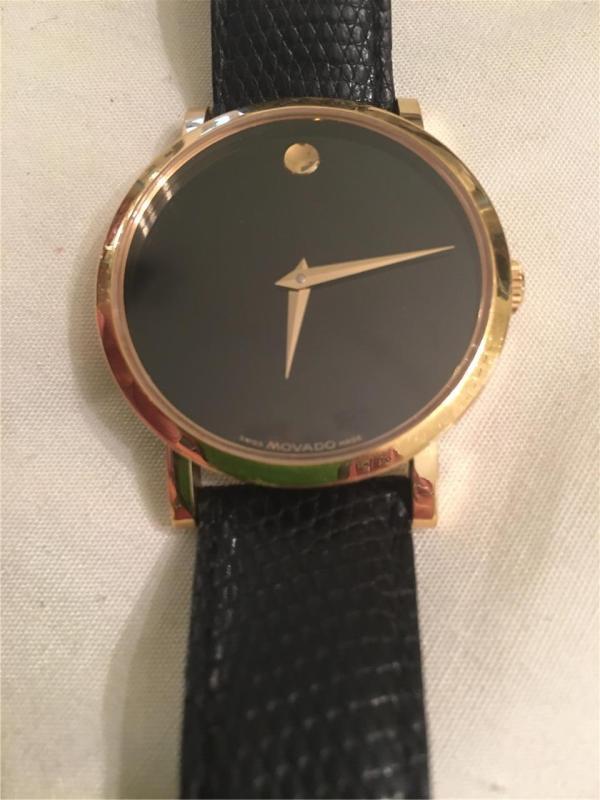 Men' Movado Watch-lizard Band-model 84f4 1890 Sapphire