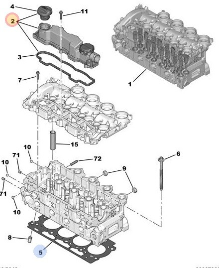Pokrywa zaworów silnika DIESEL PSA Citroen,Peugeot MOT.DV6