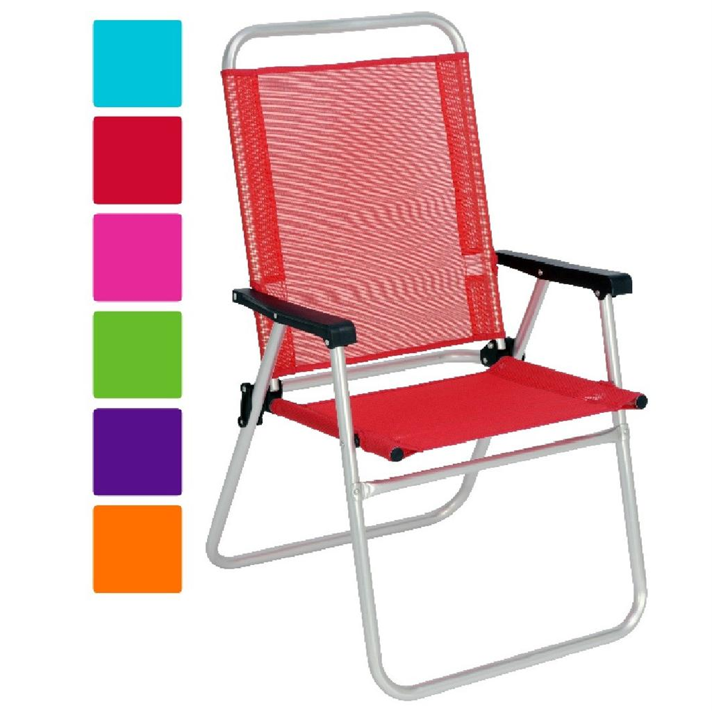 Folding Camping High Chair New Aluminium High Back Beach Folding Chair Garden Patio