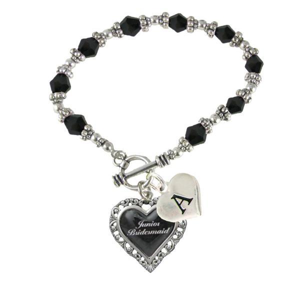 Custom Black Glass Junior Bridesmaid Heart Bracelet