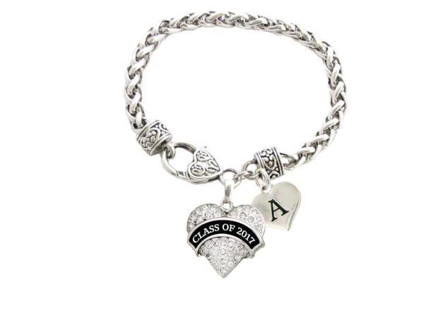 Custom Class of 2017 Graduation Gift Heart Clasp Bracelet