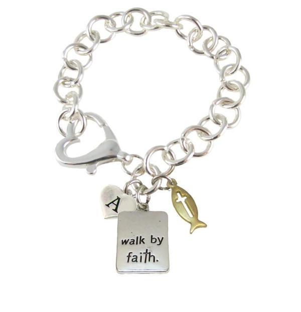 Custom Walk By Faith Initial Charms Silver Heart Clasp