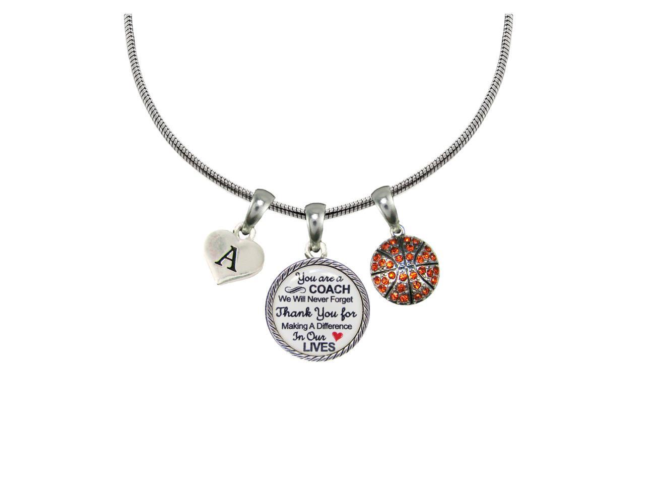 Custom Basketball Coach Thank You Gift Silver Necklace