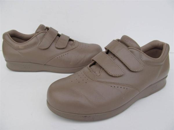 Sas Mocha Leather Velcro Comfort Walking Shoes